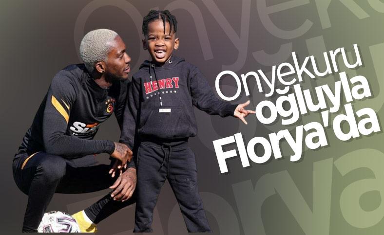 Henry Onyekuru oğluyla birlikte Florya'da
